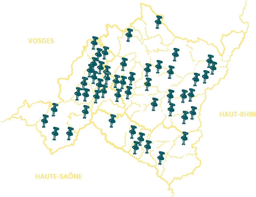 Carte des projets financés sur la région